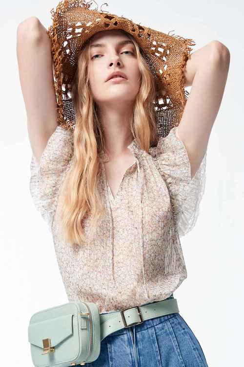 Lace  vest with small floral print