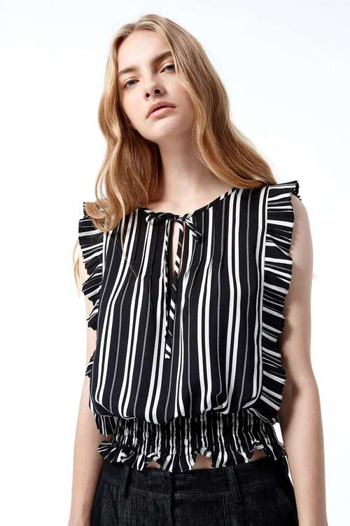 Striped ruffle vest