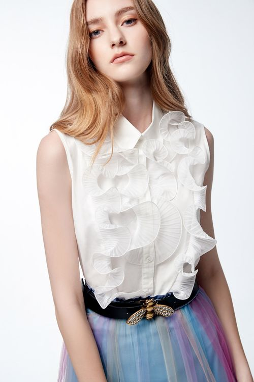 Wave ruffle vest shirt