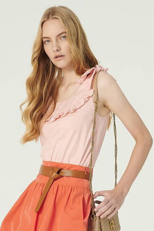 Cool summer pink lotus leaf strap vest