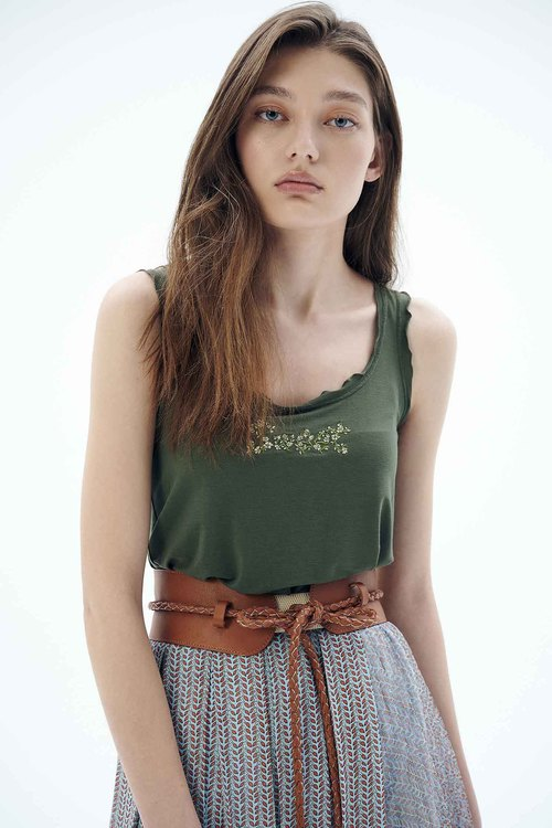 English word embroidered vest.