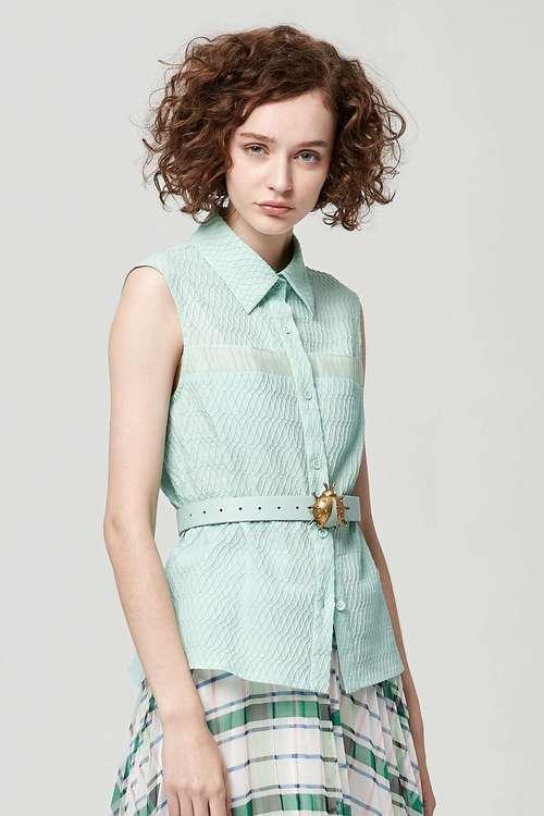 Lake green sleeveless vest shirt
