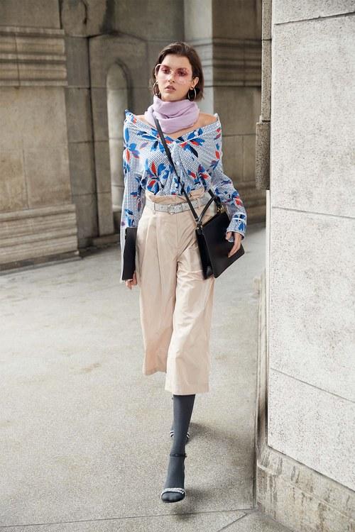 flower pattern chiffon blouse
