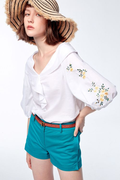 Embroidered lapel top