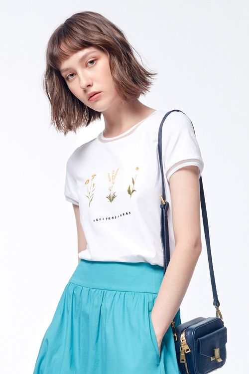 Printed embroidery T SHIRT