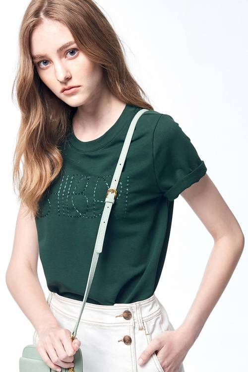 Rib cut-out embroidered word T-shirt