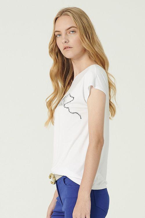 Slim! Long V-neck print T-shirt
