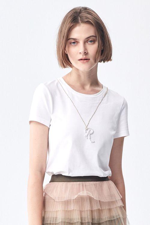 R-word round collar cotton T.