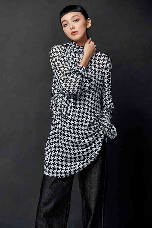 Houndstooth quality long sleeves top