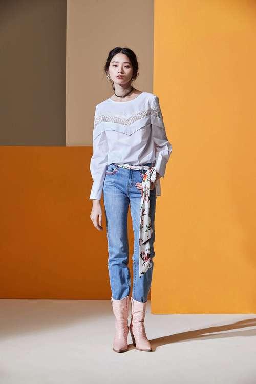 Lace ruffle shirt top