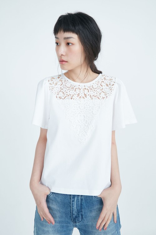 Lace spliced stylish top