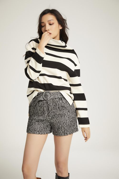 High-necked striped top