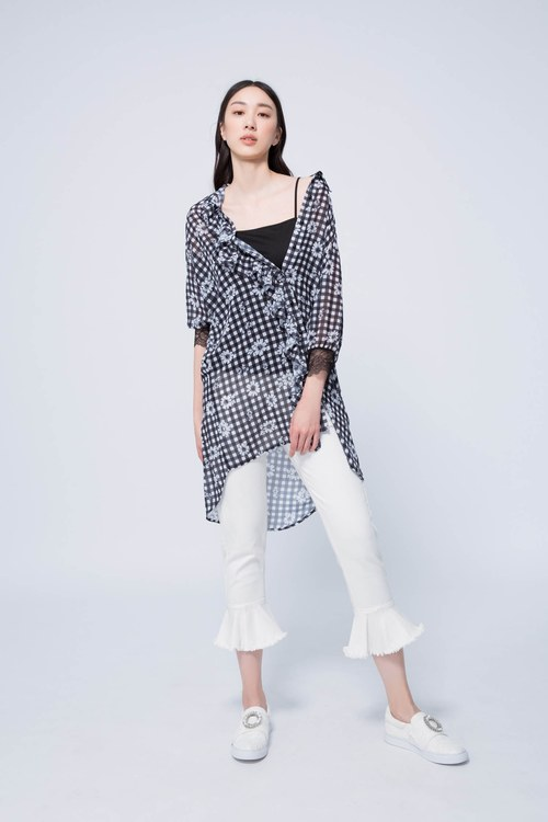 Black checkered classic blouse