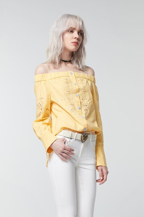 Goose yellow hollow embroidered top