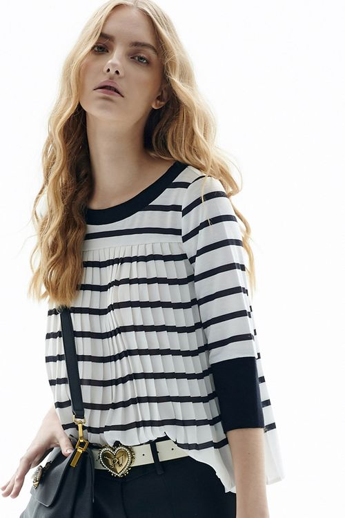 Textured striped pleated top