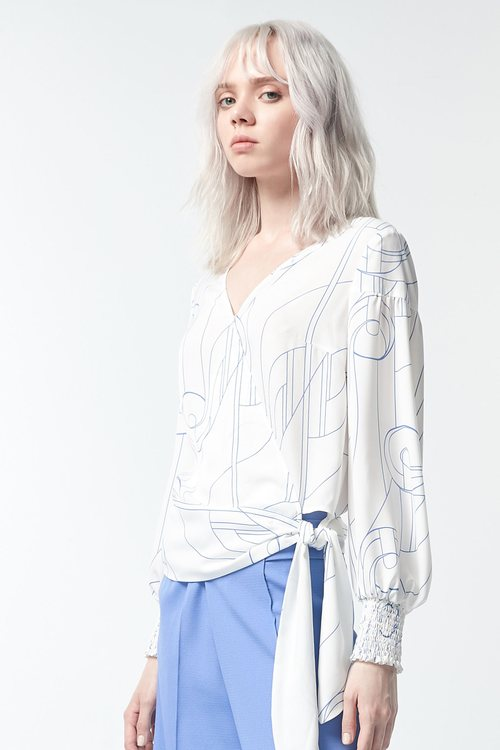 Hand-painted line print top