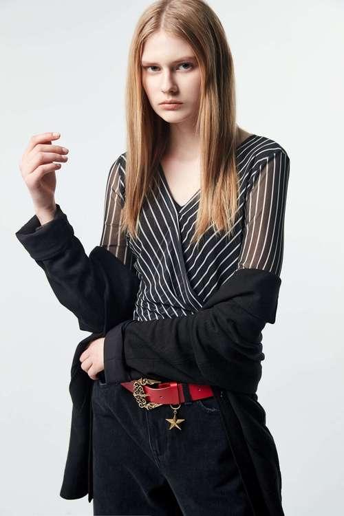 Striped cross v collar top