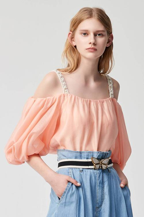 Off-the-shoulder toss top