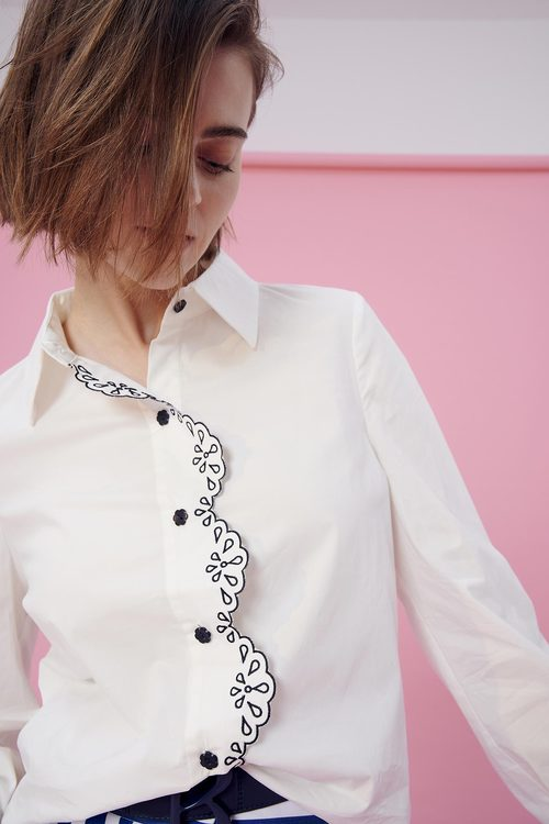 Embroidery Hole Shirt Top