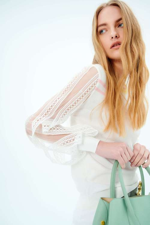 White lace sleeve knit top