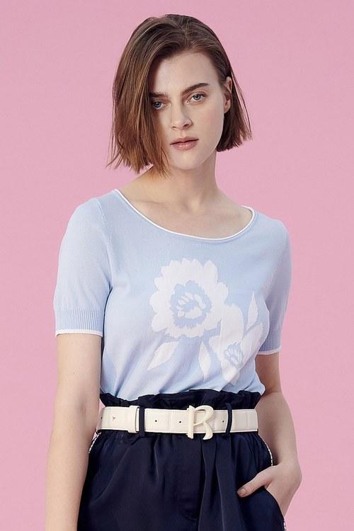 Flower short-sleeved knitwear,longskirt,longskirt,firesigns,shortsleevetop,knitting,knittedtop,knittedtop,girlfriendsspringtour