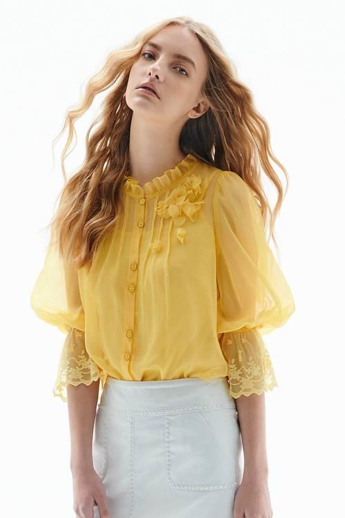 Sleevelace chiffon shirt