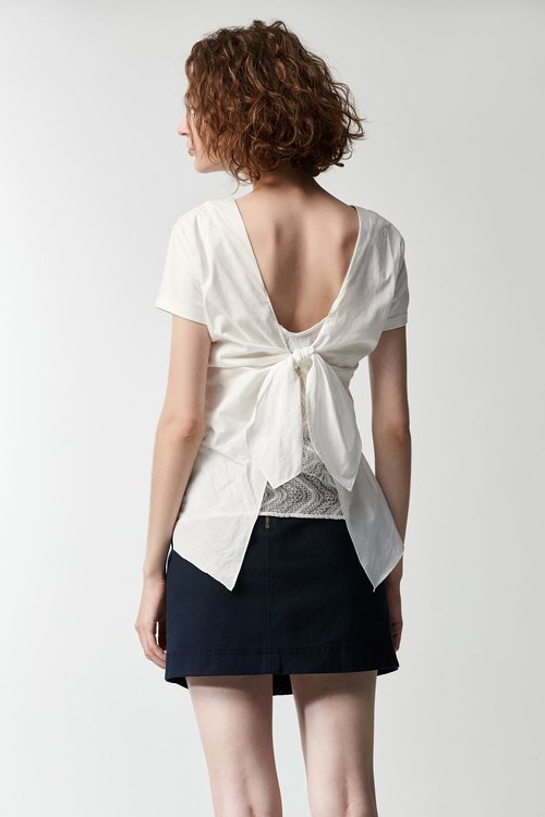 Embroidered pocket cotton top
