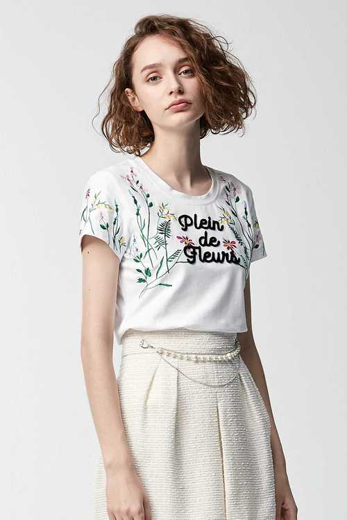 Comfortable cotton and grass embroidered T-shirt