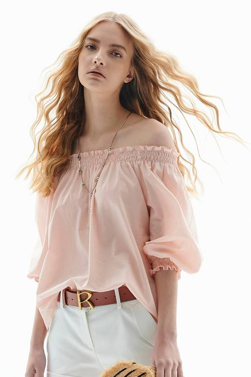 One-word collar puff sleeves top