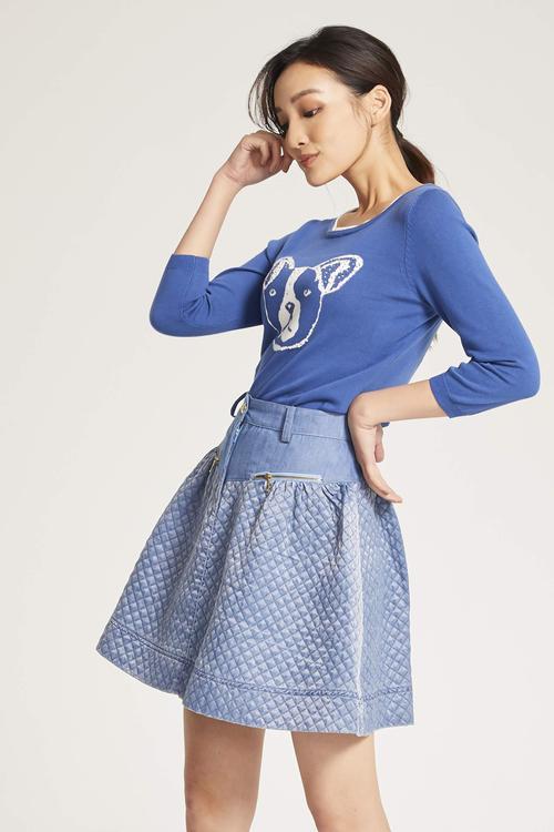 Embossed stitching skirt