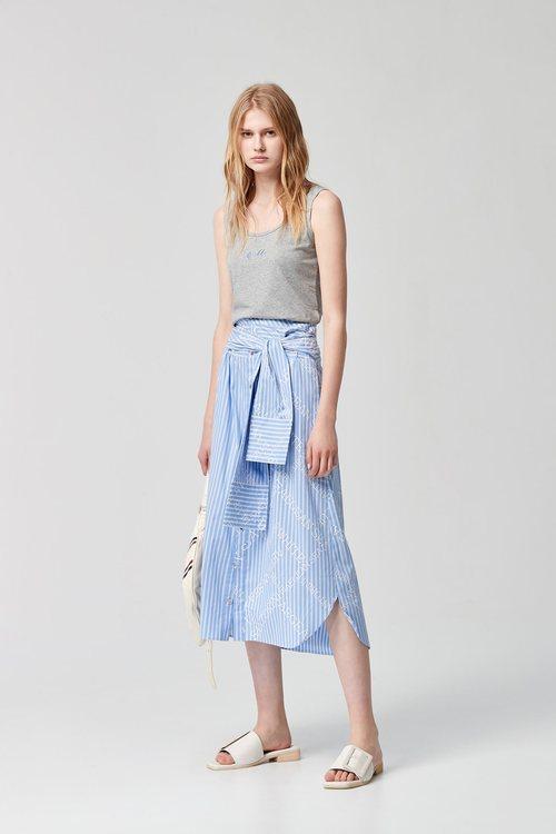 Print design long skirt