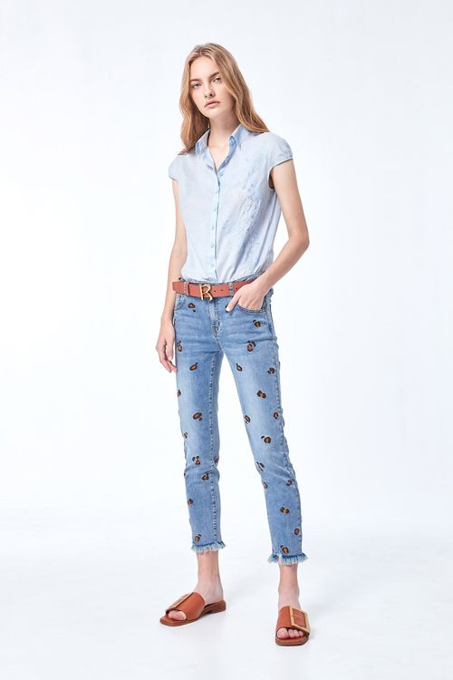 leopard print embroidery skinny jeans