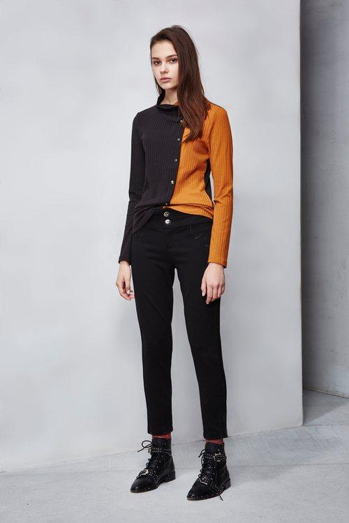 Slim street elastic trousers