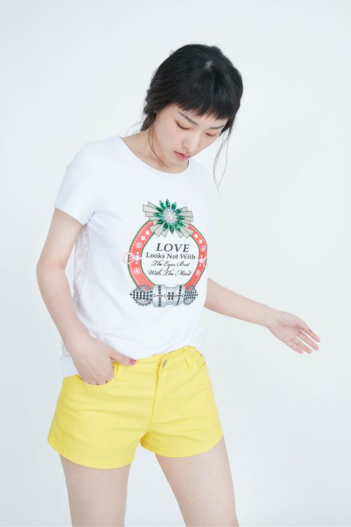 Lively pineapple yellow cotton shorts