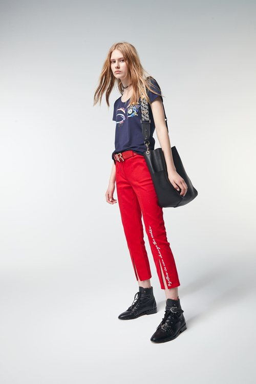 Embroidered mid-waist trousers