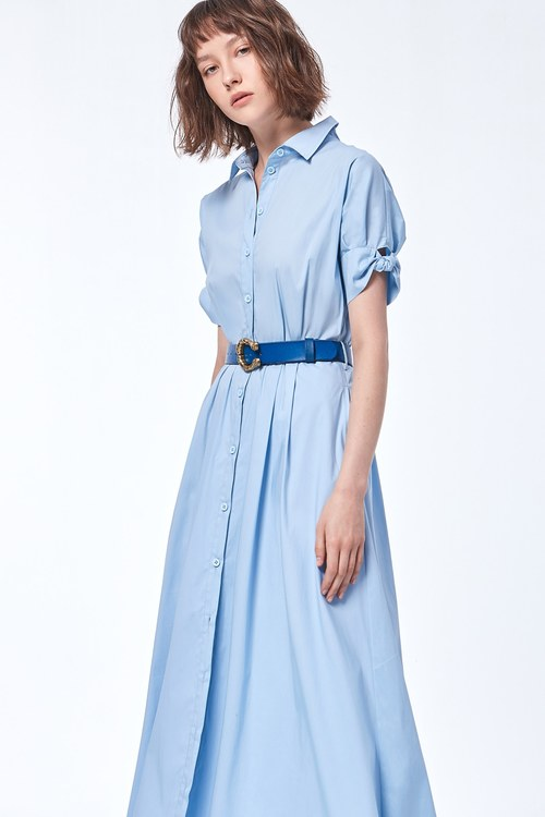 Basic lapel elbow-length sleeves dress
