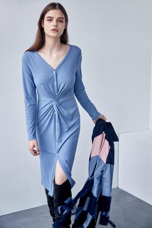 Pit strip knit twisting dress