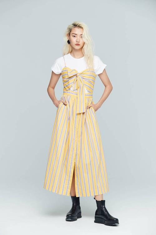 Bright striped design dress