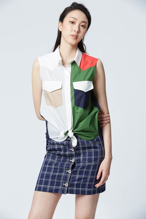 Pop color spliced sleeveless top