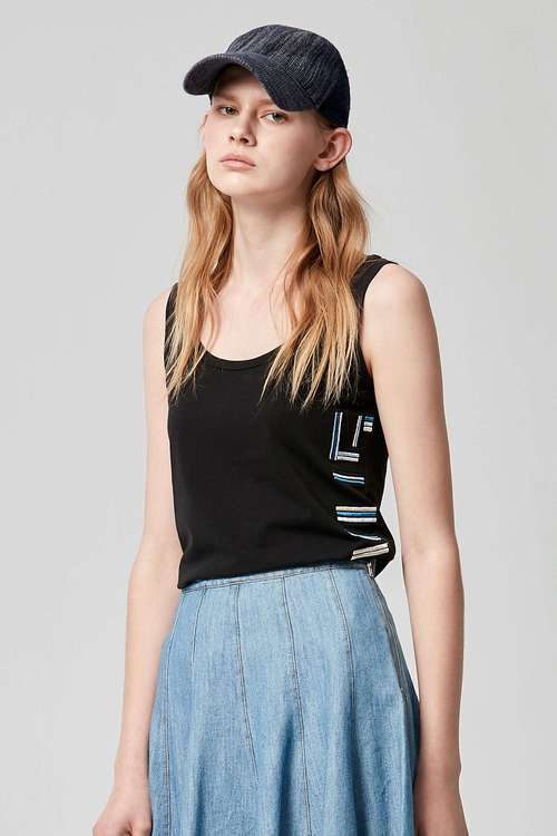 Text embroidered vest