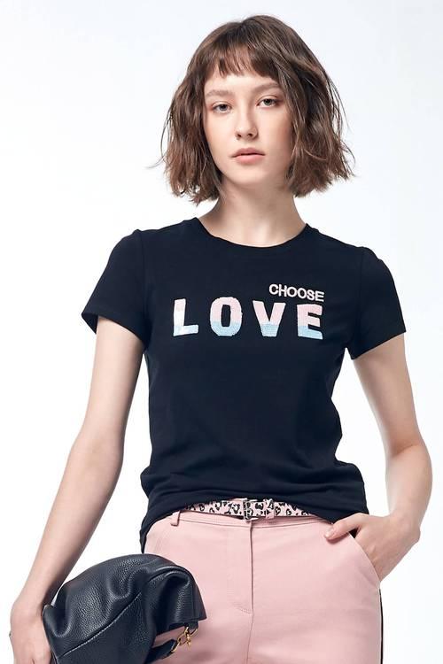 Round collar short sleeve sequins t-shirt