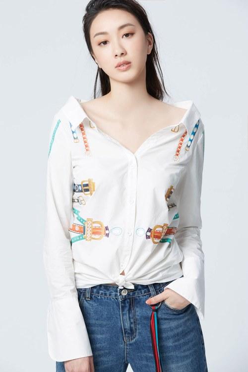 Designer belt printing cotton blouse