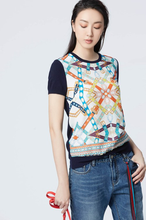 Vintage belt printing knitted top