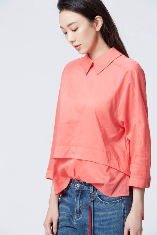 Lively coral casual shirt