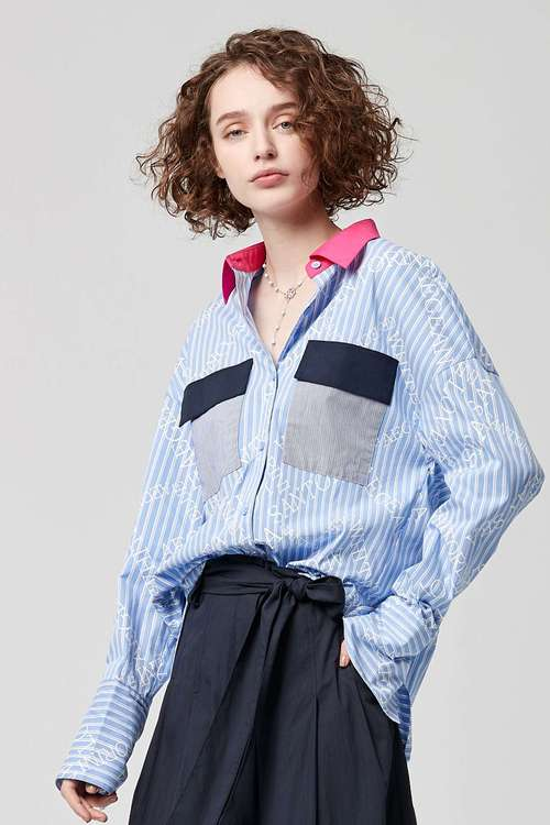 Long-sleeved shirt with color prints
