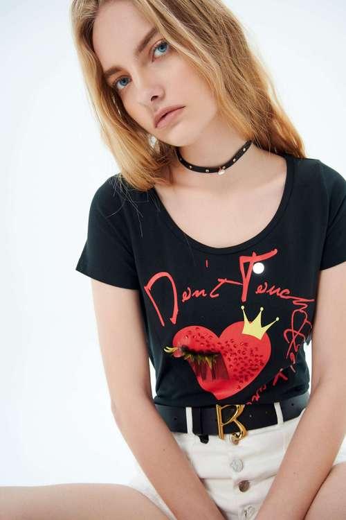 Round-neck print T shirt