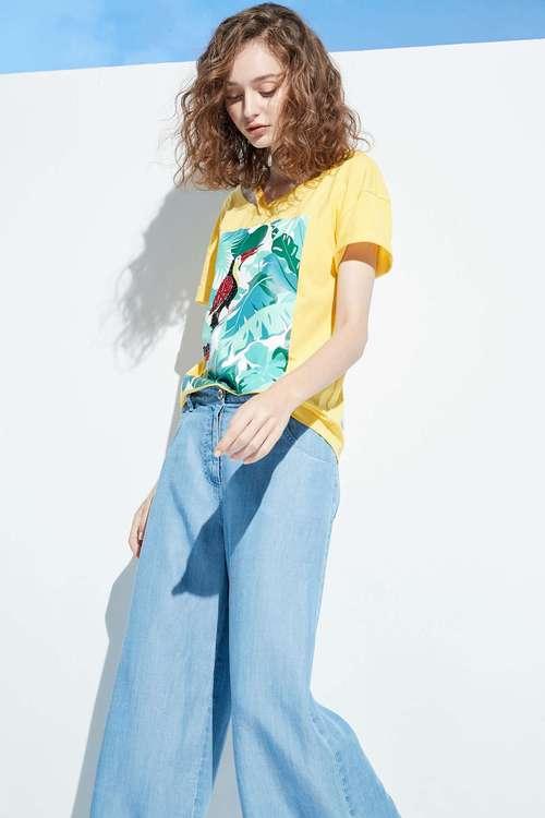 Jungle-style cotton T-shirt