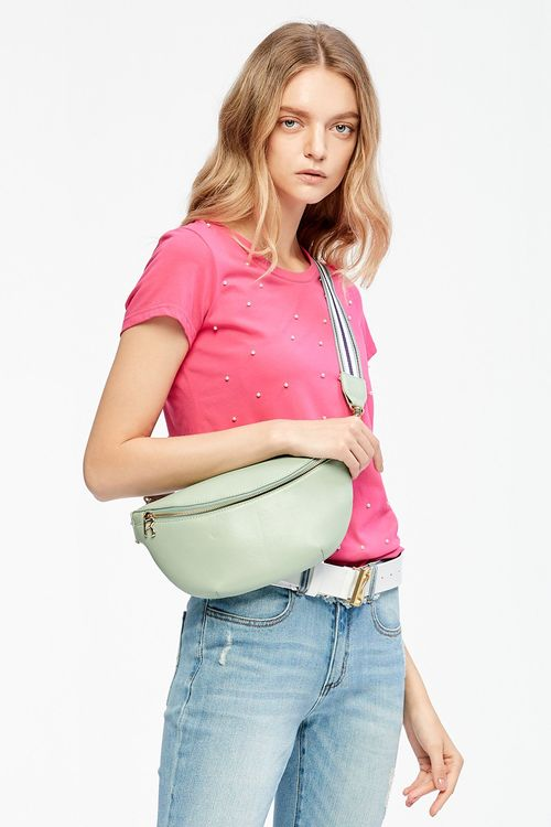 Webbed leather crossbody belt bag