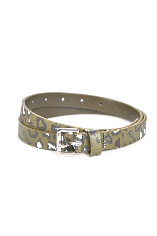 Leopard print fine leather belt