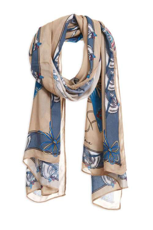 European carriage print scarf